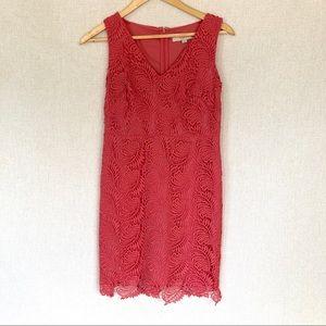 LOFT coral lace dress